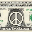 PEACE SIGN on REAL Dollar Bill - Collectible Custom Cash Money Art