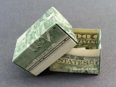 $2 Bill Money Origami GIFT BOX - Dollar Bill Art - Made with real $2 Cash