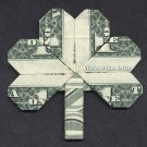 Money Origami SHAMROCK LEAF - Dollar Bill Art - Made with real $1.00 Cash