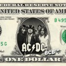 AC DC on REAL Dollar Bill ACDC Collectible Celebrity Cash Memorabilia Money Bank
