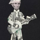 ABE LINCOLN w/Baseball Cap playing Guitar Dollar Origami - Money President Gift