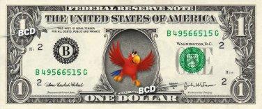 IAGO - Aladdin on REAL Dollar Bill - Collectible Celebrity Cash Money Art