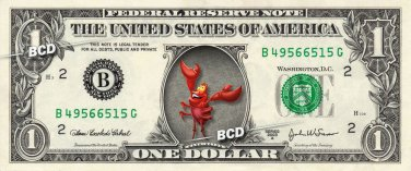 SEBASTIAN Little Mermaid on REAL Dollar Bill - Collectible Celebrity Cash Money