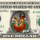 Bambi and Friend on REAL Dollar Bill - Collectible Celebrity Cash Money