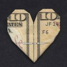 $10 Bill Money Origami HEART - Dollar Bill Art - Made with Real $10.00 Cash Gift