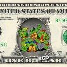Teenage Mutant Ninja Turtles TMNT on REAL Dollar Bill Cash Money Bank Note