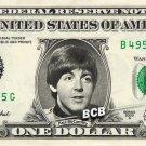 PAUL MCCARTNEY on REAL Dollar Bill - Collectible Celebrity Custom Cash Money Art