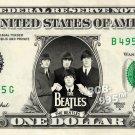 THE BEATLES Group on Real Dollar Bill - $1 Celebrity Bill Custom Money