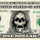 DEAD SKULL on REAL Dollar Bill - Collectible Custom Cash Money Art