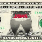 JAWS Movie on REAL Dollar Bill - Collectible Celebrity Custom Cash Money Art