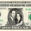 WILLIAM & CATHERINE on REAL Dollar Bill collectible Cash Money  $1 Will & Kate