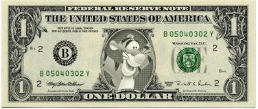 TIGGER on REAL Dollar Bill Disney Cash Money Bank Note Currency Dinero Celebrity