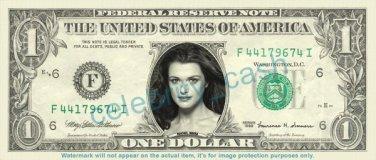 RACHEL WEISZ on REAL Dollar Bill Cash Money Bank Note Currency Dinero Celebrity