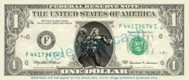 THOR Marvel on REAL Dollar Bill Cash Money Bank Note Currency Dinero Celebrity