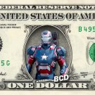 IRON MAN Patriot Marvel on REAL Dollar Bill Cash Money Bank Note Currency Dinero