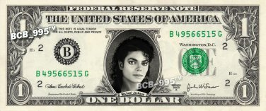 MICHAEL JACKSON on REAL Dollar Bill Cash Money Bank Note Currency Celebrity Dinero