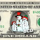 SNOWMAN FAMILY on REAL Dollar Bill Cash Money Bank Note Currency Celebrity Mint