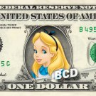 ALICE Disney Princess Disney on REAL Dollar Bill Cash Money Memorabilia
