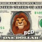 KING MUFASA Lion King on REAL Dollar Bill Disney Cash Money Memorabilia Mint