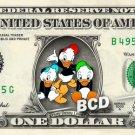HUEY DEWEY LOUIE Ducktales on REAL Dollar Bill Disney Cash Money Memorabilia