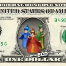 FLORA. FAUNA, MERRYWEATHER Sleeping Beauty on REAL Dollar Bill Disney Cash Money