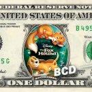FOX AND THE HOUND the Movie on REAL Dollar Bill Disney Cash Money Memorabilia