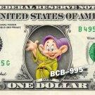DOPEY 7 Dwarfs Snow White on REAL Dollar Bill Disney Cash Money Memorabilia Mint