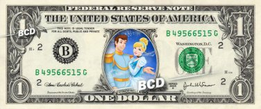 CINDERELLA & PRINCE CHARMING on REAL Dollar Bill Disney Cash Money Memorabilia
