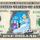 CINDERELLA AND FAIRY GODMOTHER on REAL Dollar Bill Disney Cash Money Memorabilia
