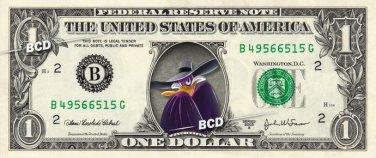 DARKWING DUCK on REAL Dollar Bill Disney Cash Money Memorabilia Collectible Mint