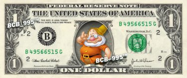 DOC 7 dwarfs Snow White on REAL Dollar Bill Disney Cash Money Memorabilia Mint