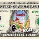 BAMBI THE MOVIE on REAL Dollar Bill Disney Cash Money Memorabilia Collectible