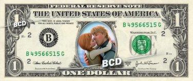 Anna and Kristoff Frozen on REAL Dollar Bill Disney Cash Money Memorabilia