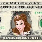 BELLE - Beauty & Beast on REAL Dollar Bill Disney Cash Money Memorabilia