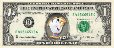 CHIP - Beauty & the Beast on REAL Dollar Bill Disney Cash Money Memorabilia