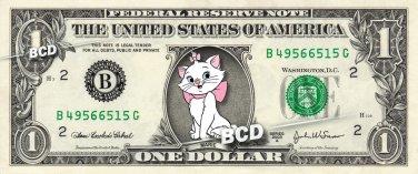 MARIE Aristocats on REAL Dollar Bill Disney Cash Money Memorabilia Collectible
