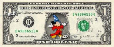 MICKEY MOUSE Fantasia on REAL Dollar Bill Disney Cash Money Memorabilia