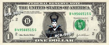 MALEFICENT Angelina Jolie - REAL Dollar Bill Disney Cash Money Memorabilia