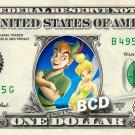 PETER PAN AND TINKERBELL - REAL Dollar Bill Disney Cash Money Memorabilia Bank