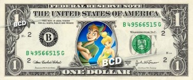 PETER PAN AND TINKERBELL - REAL Dollar Bill Disney Cash Money Memorabilia Bank