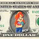 ROXANNE - Goofy Movie on REAL Dollar Bill Disney Cash Money Memorabilia Bank