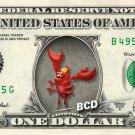 SEBASTIAN Little Mermaid on REAL Dollar Bill Disney Cash Money Memorabilia