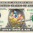 SNOW WHITE 7 Dwarfs - REAL Dollar Bill Disney Cash Money Memorabilia Collectible