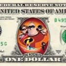 THE INCREDIBLES - REAL Dollar Bill Disney Cash Money Memorabilia Collectible