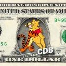 TIGGER & WINNIE Pooh REAL Dollar Bill Disney Cash Money Memorabilia Collectible