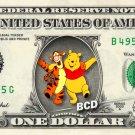 WINNIE POOH & TIGGER REAL Dollar Bill Disney Cash Money Memorabilia Collectible