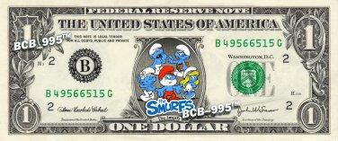 THE SMURFS on REAL Dollar Bill Cash Money Memorabilia Collectible Celebrity