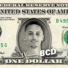 STEPHEN CURRY on REAL Dollar Bill Steph Golden State Warriors NBA Memorabilia