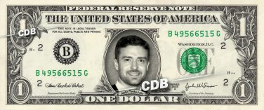 JUSTIN TIMBERLAKE on A REAL Dollar Bill Cash Money Memorabilia Collectible Bank