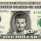 DAVID BECKHAM on REAL Dollar Bill Cash Money Bank Note Currency Dinero Celebrity